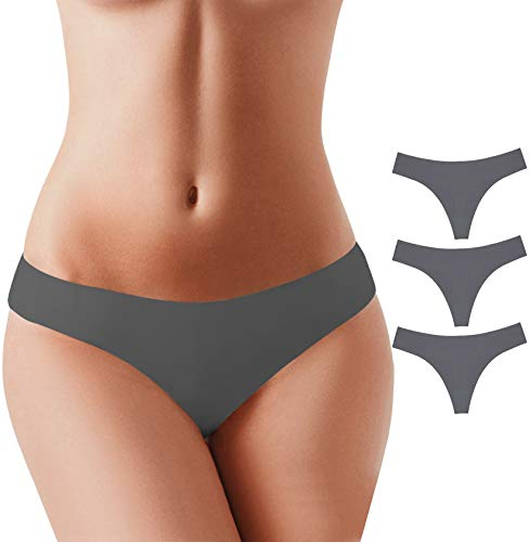 (BUBBLELIME Sports Thongs for Women Microfiber Low Rise No Show Thong Pantie, (Set15) 3pack Darkgray, Medium)