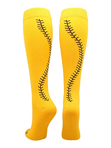 - MadSportsStuff Softball Socks with Stitches Over The Calf (Gold/Black, Large)