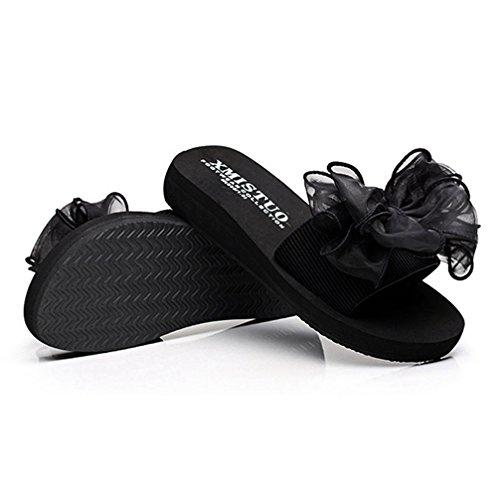 Bowknot Playa Plana Plataforma Negro Sandalias Mujer de Antideslizante Slide Bohemio Moda Encaje Sandalias Verano 7xfpIq