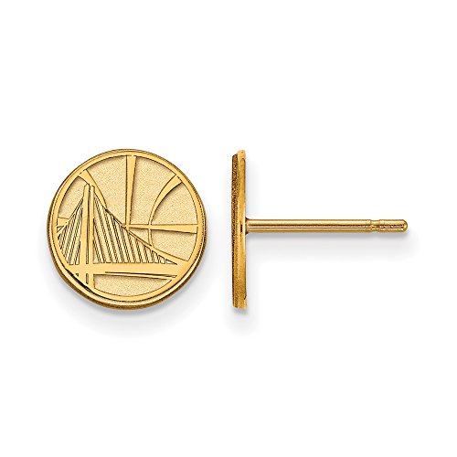 NBA Golden State Warriors X-Small Post Earrings in 10K Yellow Gold by LogoArt