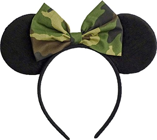 (Minnie Mouse Ears Inspired Camo Camouflage Hair Bow Headband Women Girls Mickey Birthday Party Theme Outfit by Sweet in the City)