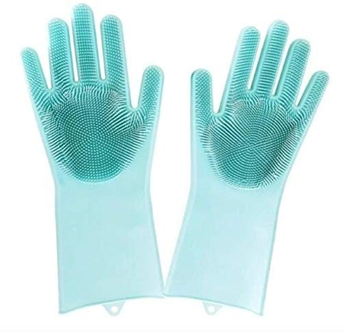 Magic Silicone Gloves Dishwashing | Wash scrubber, Reusable Gloves, Wash Brush, Heat Resistant, Kitchen tool for Cleaning, Car washing, Pet Care (1 Pair)