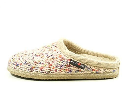 Haflinger 611088-0 Walktoffel Uni Damen Hausschuhe Pantoffeln Wolle Beige
