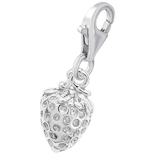 Rembrandt Charms Strawberry Charm with Lobster Clasp, 14k White Gold