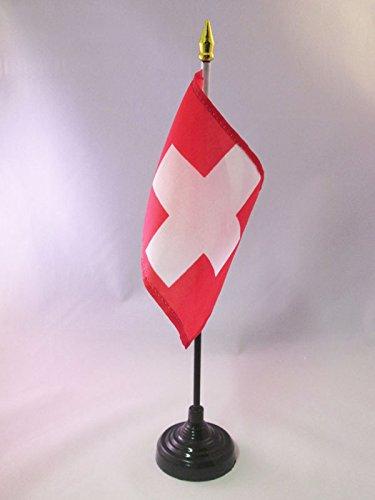 Petit Drapeaux DE Bureau helv/étique 10 x 15 cm Pointe dor/ée AZ FLAG Drapeau de Table Suisse 15x10cm