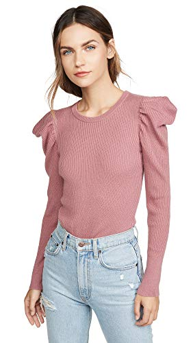 Splendid Women's Long Cashmere Blend Puff Sleeve Sweater, Dusty Cedar Pink, M