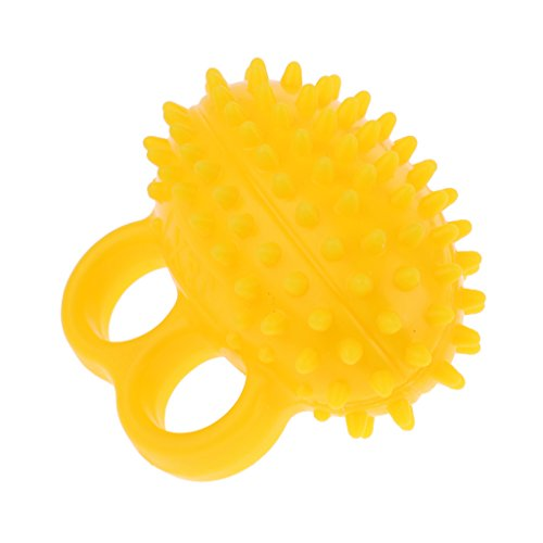 Homyl Hand Trainer Fingertrainer Grip Ball Set de 1 - pour Entraînement Efficace des Muscles de la Main, Boule à Picot Auto-massage - Jaune