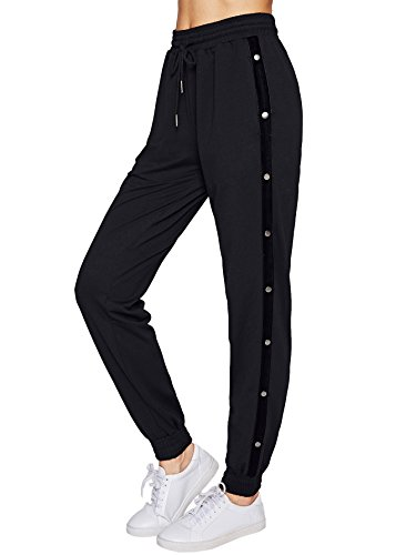 SweatyRocks Women Pants Color Block Casual Tie Waist Yoga Jogger Pants Black S