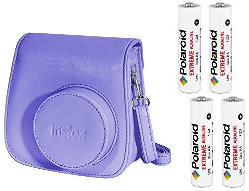 (Fujifilm Instax Groovy Camera Case for Instax Mini 8 - Grape with 4X AA Polaroid Batteries )