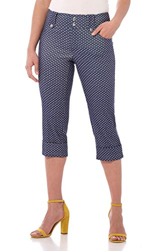 Rekucci Women's Ease in to Comfort Fit Modern Classic Cuffed Capri (14,Blue Denim Dots) - Stretch Cuffed Capri