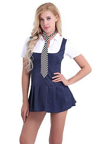 iEFiEL 2 Piece Adult Ladies Sexy School Girl Fancy Dress Costume Uniform Outfit with Necktie Navy Blue+White S -