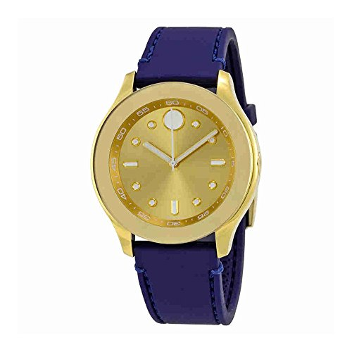 Women's Swiss Quartz Gold-Tone and Rubber Casual Watch, Color Blue (Model: ) - Movado 3600413