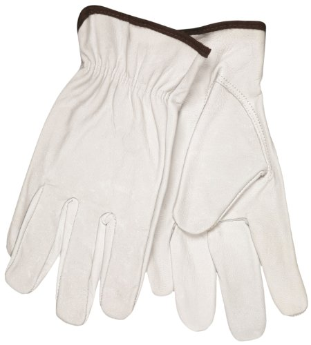 MCR Safety 3613M Select Grain Goatskin Driver Gloves with Keystone Thumb, White, Medium, 1-Pair