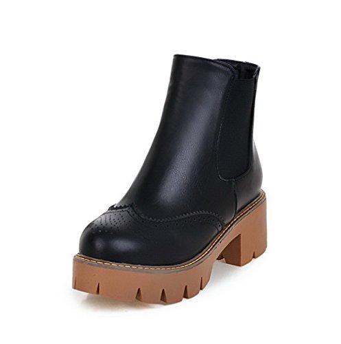 con PU negro AgooLar para cierre y mujer botas redonda punta tacones gatito sólidos de AwCICq4
