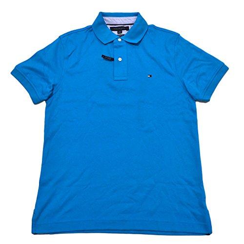 Tommy Hilfiger Mens Custom Fit Interlock Polo Shirt (Hawaiian Ocean, X-Large) - Tommy Hilfiger Polo Rugby