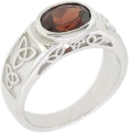 Sterling Silver Natural Mozambique Garnet Celtic Knot Ring (1 2/5 CT.T.W)
