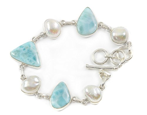 Sterling Silver Larimar Bracelet Off Round Freshwater Cultured Pearls Blue 7.5 8.5 Inches by Spyglass Designs