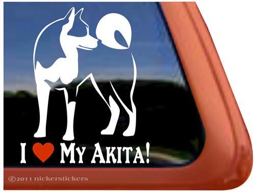 I Love My Akita Dog Vinyl Window Decal (Akita Sticker)