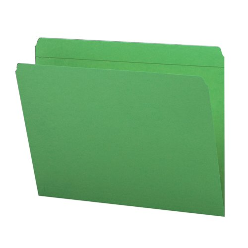 Smead File Folder, Reinforced Straight-Cut Tab, Letter Size, Green, 100 per Box (12110)