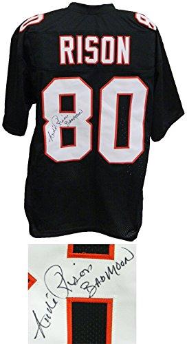 Andre Rison Signed Full Name Signature Black Custom Football Jersey w/Bad ()