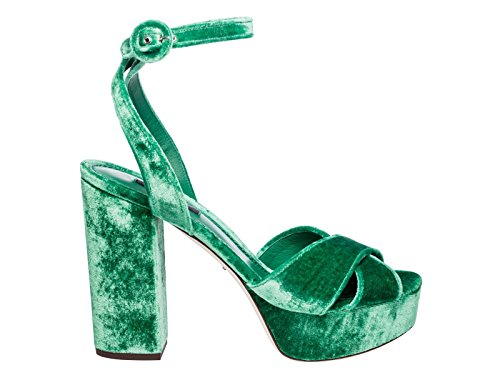 Dolce E Gabbana Kvinder Cr0450a41958h526 Grønne Fløjl Sandaler YXPaoCe