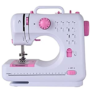 Costway Sewing Machine Household Multifunction Double Thread And Speed Free-Arm Crafting Mending Machine Pink White from Costway
