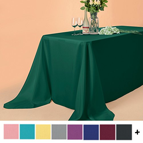 Remedios 90 x 156-inch Rectangle Polyester Tablecloth Table Cover - Wedding Restaurant Party Banquet Decoration, Hunter (Hunter Green Round Table Cover)