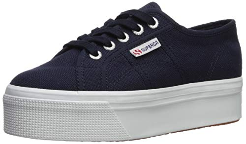 Superga Women's 2790 Platform Sneaker, Navy, 39 Medium EU (8 US)
