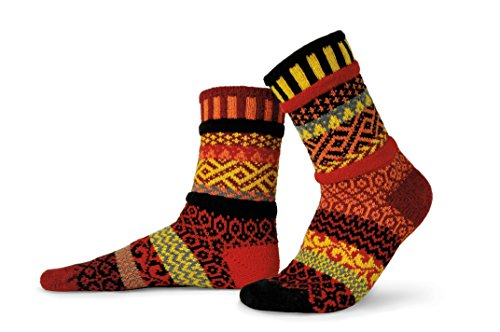 Solmate Socks - Mismatched Crew Socks; Made in USA; Fire Large