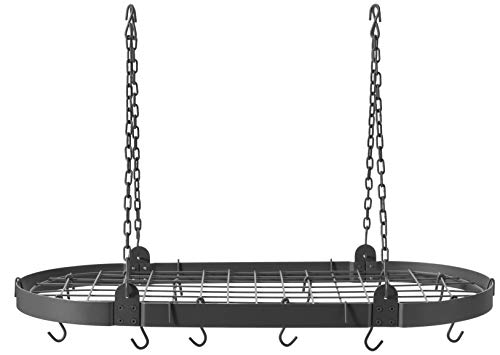 - Old Dutch Oval Pot Rack with Grid & 12 Hooks, Graphite