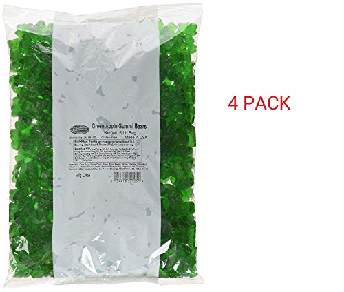 Albanese Candy, Green Apple Gummi Bears (4 Pack 5 Pound Bag)