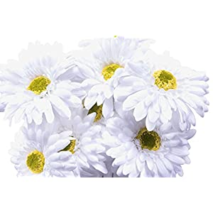 CraftMore White Gerbera Daisy Stems 14 Inch Set of 12 115