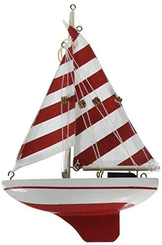 Hampton Nautical  Red Striped Sailboat Christmas Tree Ornament 9