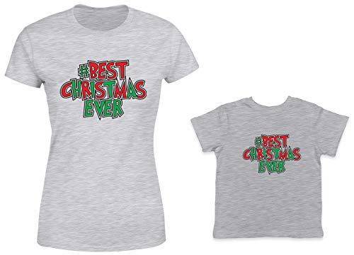 HAASE UNLIMITED #Best Christmas Ever 2-Pack Toddler & Ladies T-Shirt (Lt. Gray/Lt. Gray, XX-Large/6 Months)