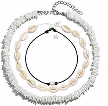 Olisaglan Puka Chip Shell Necklace Choker for Women Men - Tropical Hawaiian Beach Puka Chips Shell Surfer Choker Necklace Jewelry Adjustable (White)