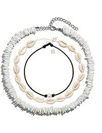 Puka Chip Shell Necklace Choker for Women Men - Tropical Hawaiian Beach Puka Chips Shell Surfer Choker Necklace Jewelry Adjustable (White)