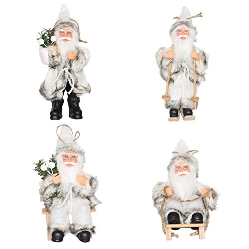Collection Santa Decorations - CHENGMON Christmas Santa Claus Ornaments Decorations Tree Hanging Figurines Collection Doll Penda Small Traditional Holding Home Decors Set of 4 Pcs Assortment Pack 6