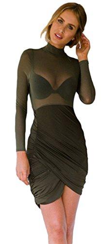 La Vogue Vert Robe Moulant Courte Manche Longue Col Haut Clubwear Transparent