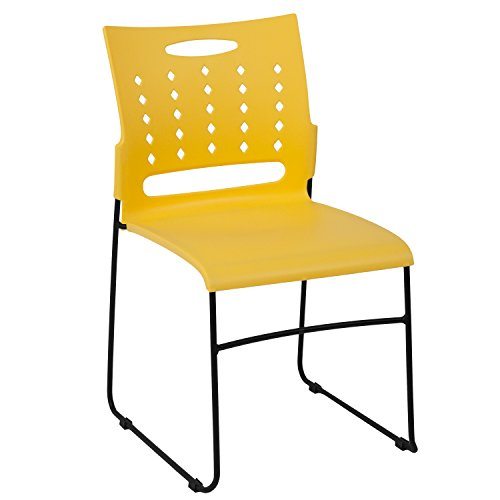 Flash Furniture 5-RUT-2-YL-GG Yellow Plastic Stack Chairs, 5 Pack,