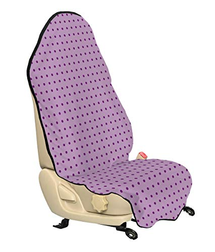 Ambesonne Mauve Car Seat Cover, Retro Polka Dots Background Nostalgic Stylized Feminine Girls Fashion Artsy Pattern, Car and Truck Seat Cover Protector with Nonslip Backing Universal Fit, Plum Lilac (Plum Fashion Pet)