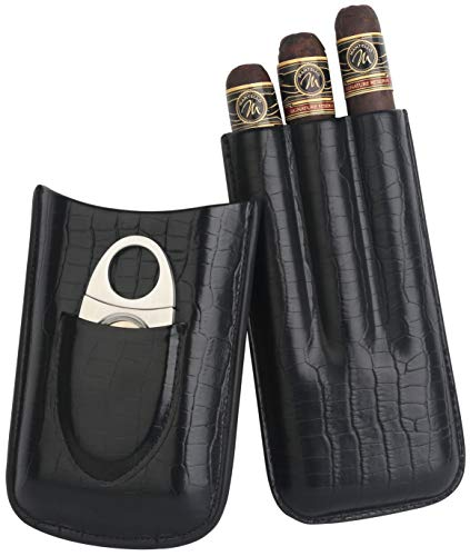 Mantello 3-Finger Black Genuine Leather Cigar Case with Stainless Steel Cutter 3 Finger Leather Cigar