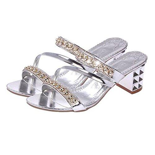 Zapatillas mujer XW Zapatillas de de verano playa Zapatillas de de de Zapatillas Zapatillas Zapatos mujer de cuña Zapatillas exter alto moda Zapatillas de gruesas de diamantes tacón La Plata de verano de tacón rqzSXr
