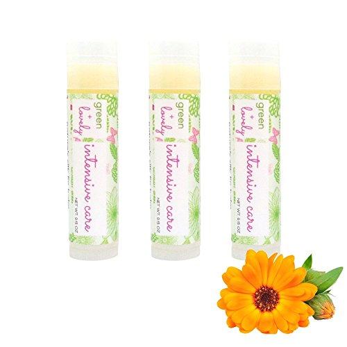 Nature's Silk Lip Balm Set of 3, Intensive Care. Organic Oils. Green + Lovely. 0.15 oz tube.