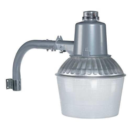 Globe Electric 150W Dusk to Dawn Sodium Outdoor Security Flood Light, Silver Finish, Plastic Shade, High Pressure Sodium Bulb Included - Mercury Vapor Security Light