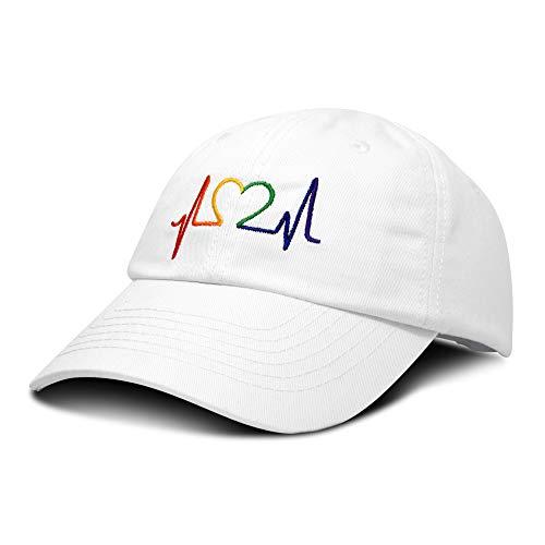 (DALIX Rainbow Heartbeat RN Nurse Hat EKG Baseball Cap Medical Fitness in White)