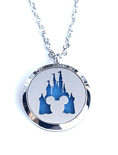 Necklace Jewelry Disney - FIKA Mickey Mouse Aromatherapy Essential Oils Necklace Pendant Air Freshener Locket Pads Included (Magic Kingdom)