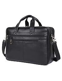 Texbo Men's Large Leather Briefcase Shoulder Messenger Bag Fit 17 Inch Laptop Tote (Black)