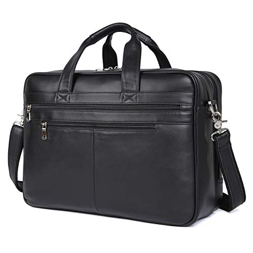 Texbo Men's 17 Inch Solid Genuine Leather Professional Laptop Briefcase Messenger Shoulder Bag (Cowhide Leather Briefs)