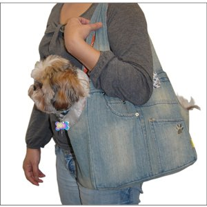 Anima Denim Open Top Pet Carrier for small dogs only