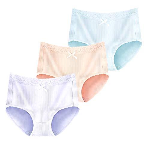 JIEYA 3-Pack Womens Cotton Underwear Solid Color Lace Panties Briefs Underpants by JIEYA